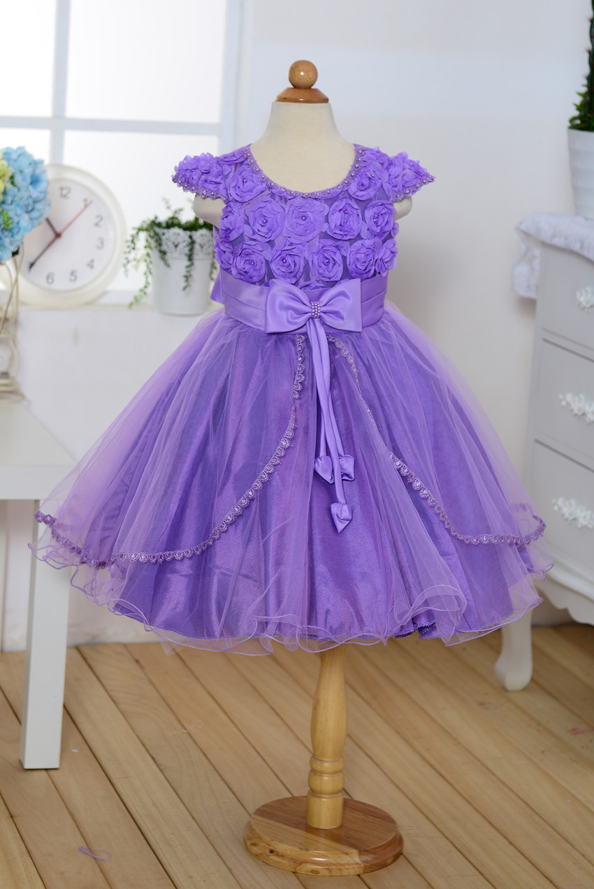 1785493838d26 Pleated Princess Kids baby girls bow rose flower lace elegant noble party  wedding birthday photography dress girls costumes
