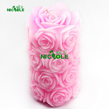 Nicole LZ0089  Silicone Mold for Handmade Soap Candle Making 3D Cylindrical with Rose Relief Mould