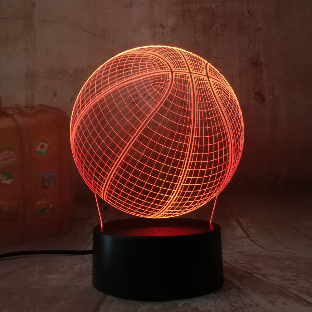 Cool 3D Basketball Sport Home Decoration LED illusion Touch Usb 7 Color Change Lamp Bedroom Night Light Best Child Boys Man Gift led chelsea football club 3d lamp usb 7 color cool glowing base home decoration table lamp children bedroom night lights