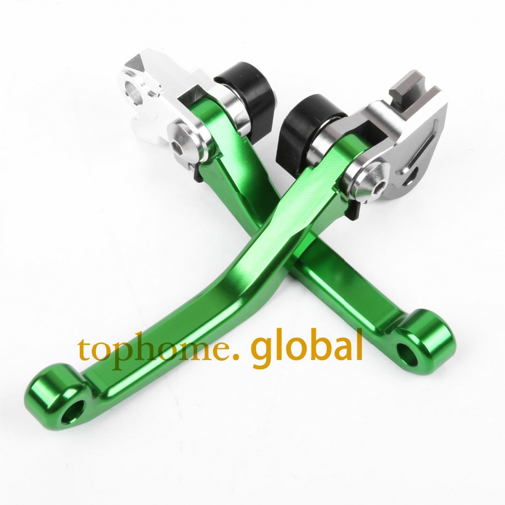 Hot One Pair CNC Pivot Dirttbike Brake Clutch Levers Green Color For Kawasaki KX65 2000-2015 2013 2012 2011 2010 2009 2008 2007 hot one pair cnc pivot dirttbike brake clutch levers for honda crf450r 2007 2015 2008 2009 2010 2011 2012 2013