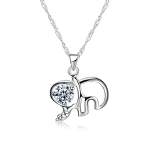 100 Genuine 925 Sterling Silver Necklace For Women Cubic Zirconia Elephant Pendant Necklace Women Fashion Jewelry