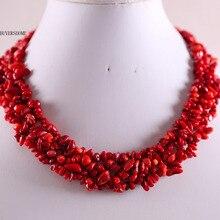 """Ювелирные изделия 4X8 мм натуральный камень красные морские кораллы чип бусины нейлоновая линия плетение ожерелье 1"""" 1 шт E033"""