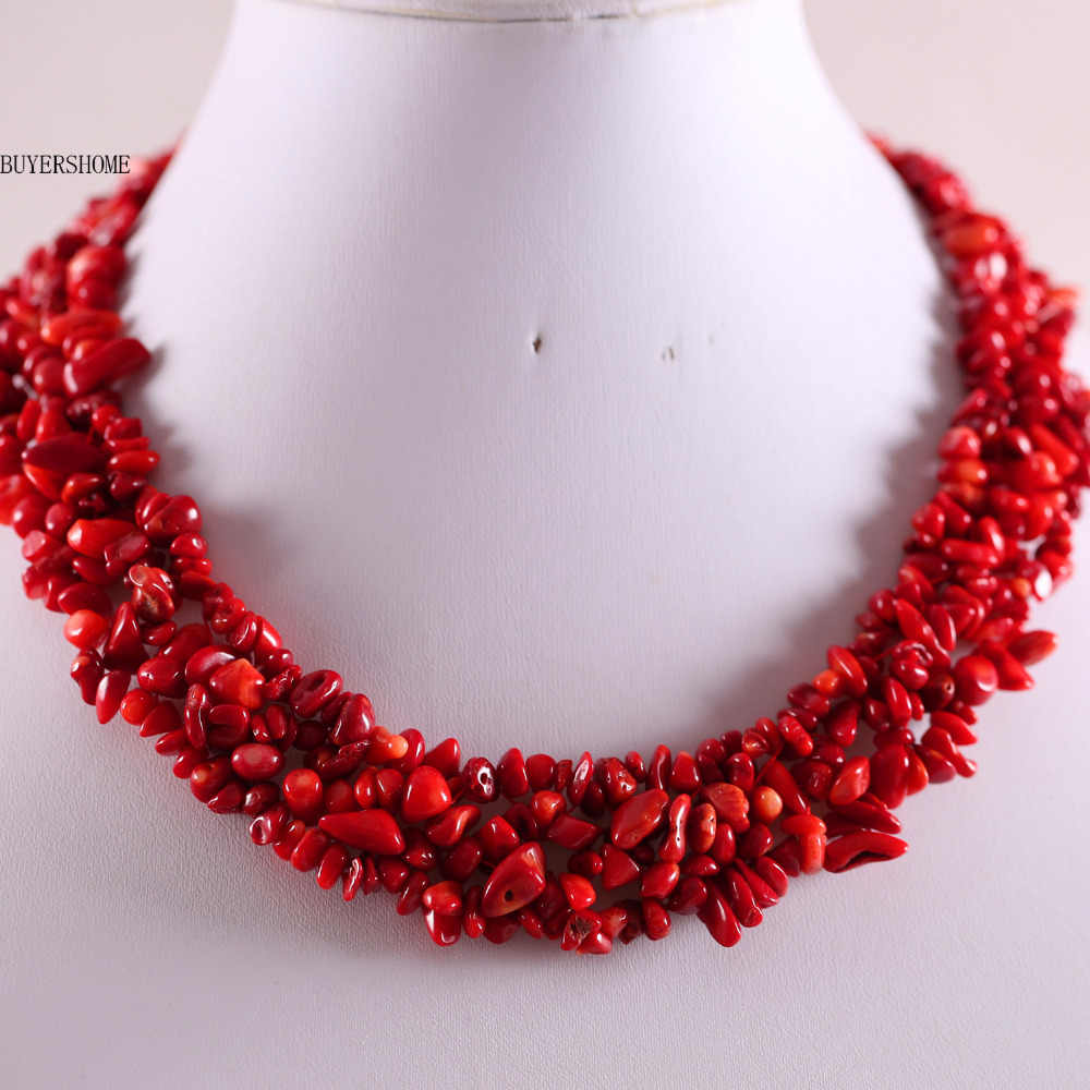 "Free Shipping Free Shipping Jewelry 4X8MM Natural Stone Red Sea Coral Chip Beads Nylon Line Weave Necklace 18"" 1Pcs E033"