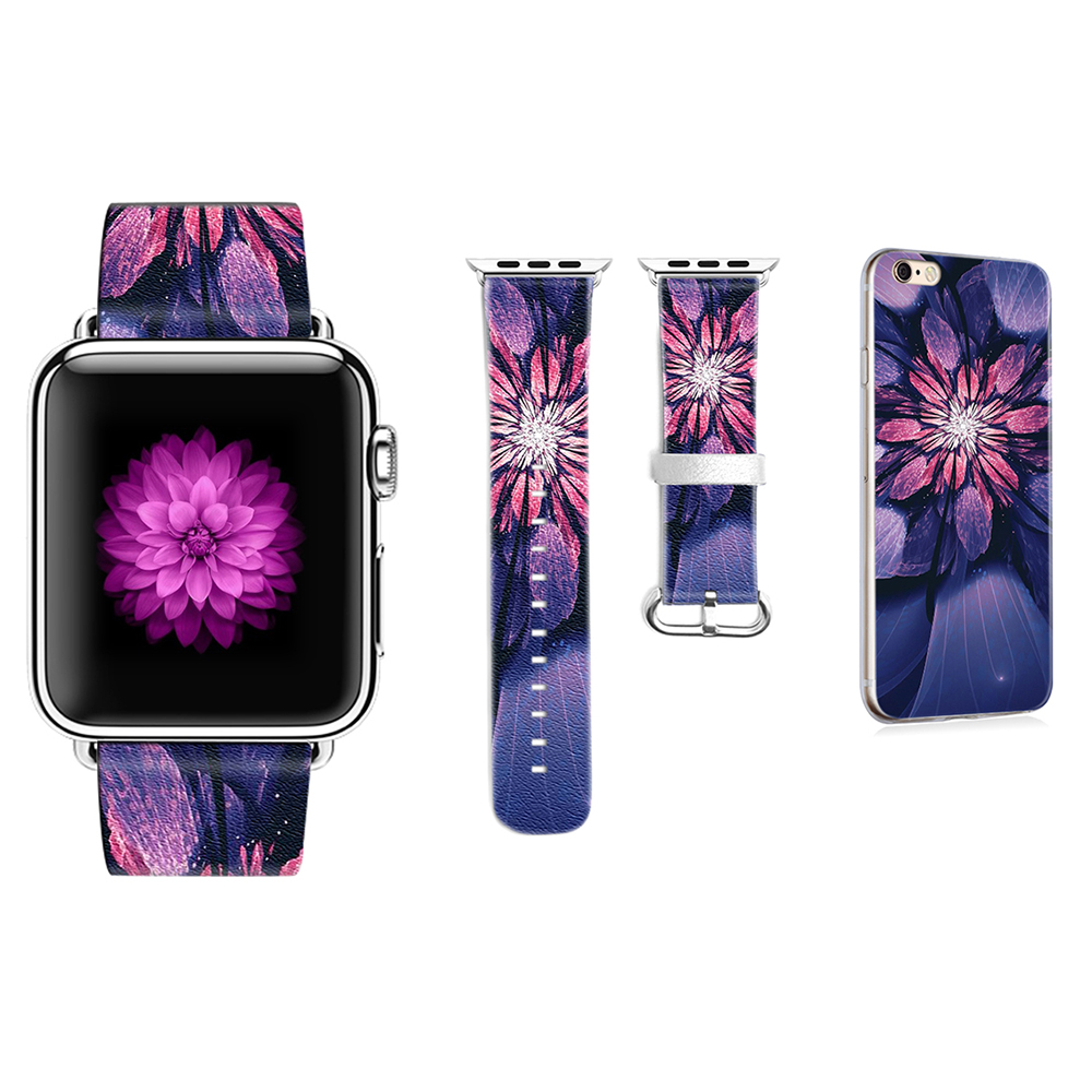 все цены на Original Flowers Pattern Band for Apple Watch Bracelet Leather Band 38mm 42mm for Iwatch Series 1 2 3 Strap Gift for IPhone Case