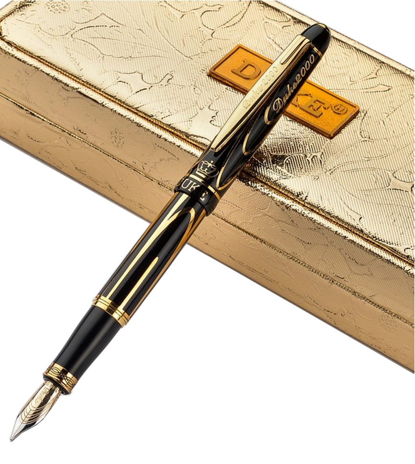 Gold Fountain pen M 14 K Solid Gold Nib  DUKE 89A  Free Shipping italic nib art fountain pen arabic calligraphy black pen line width 1 1mm to 3 0mm