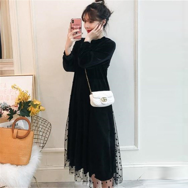 Black plus size dress women long Patchwork lace pullover dress 2019 new spring autumn long sleeve loose gold velvet dress female