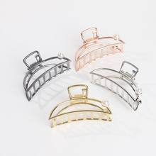 wholesale 1PC Popular Gold Women Metal Hair Clip Heart Bowknot Geometric Shape Hair Claw Ponytail Holder girls hair bows(China)