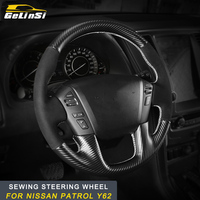 GELINSI sewing steering wheel cover trim Stickers Covers Interior Accessories For Nissan Patrol Y62 Auto Car styling