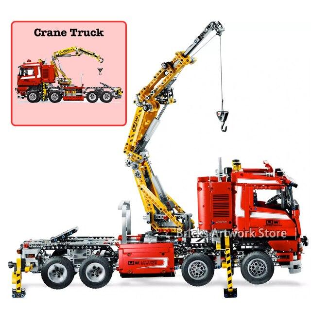 Fit Legoness Technic Series 8258 Set Electric Power Crane Truck V8 Engine 1877pcs Model Building Blocks Toys For Kids Boys Gifts