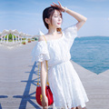 13 niñas 11 años de edad adolescente vestido de encaje blanco ropa de playa verano 2016 Europeo moda barata niños hermosa