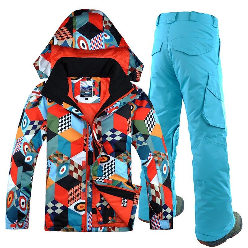 2019 Gsou neige hommes veste de Ski pantalon Snowboard Ski costume coupe-vent imperméable Super chaud hiver à capuche vêtements pantalon costume ensemble