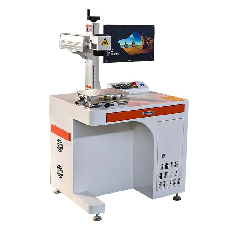20w Laser Marking Machine Animal Ear Tag Making Equipments With Rotary Device