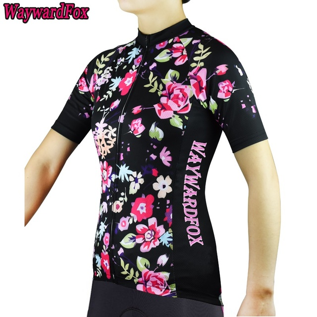9478df7b97f 2018 Summer Women s Team Flower pattern cycling jerseys short sleeved  Cycling clothing road bike clothes Bicycle wear Pockets