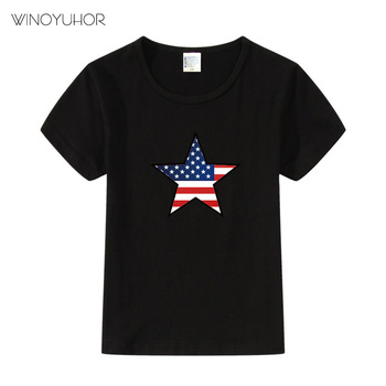 American Flag Children T-shirt Boys T Shirt Short sleeve Tees Shirts Summer Kids Tops USA Star Baby Boy Clothing Cotton Girls