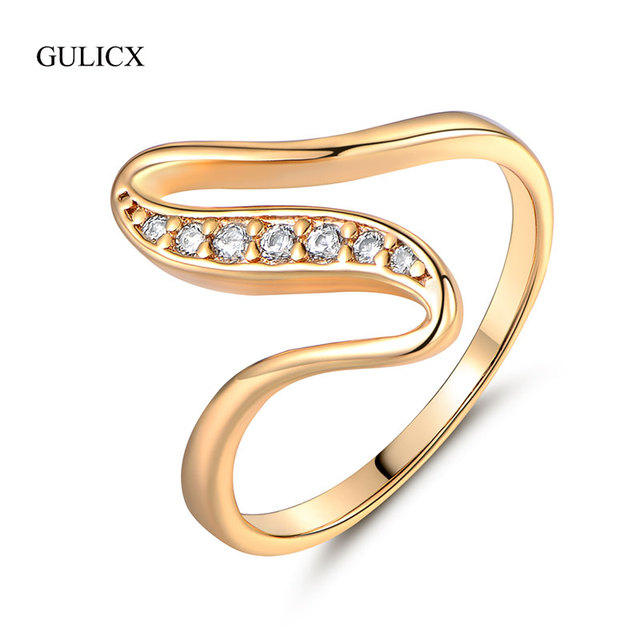 GULICX X SHape Snake Curve Rings Unique Gold-color  Ring White Crystal CZ Zirconia Engagement Rings for Women Jewelry R103