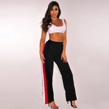 Women High Split Wide Leg Pants Cropped Bottom Pants Side Slit Contrast Striped Back Zipper Loose 2019 Casual Trousers недорого