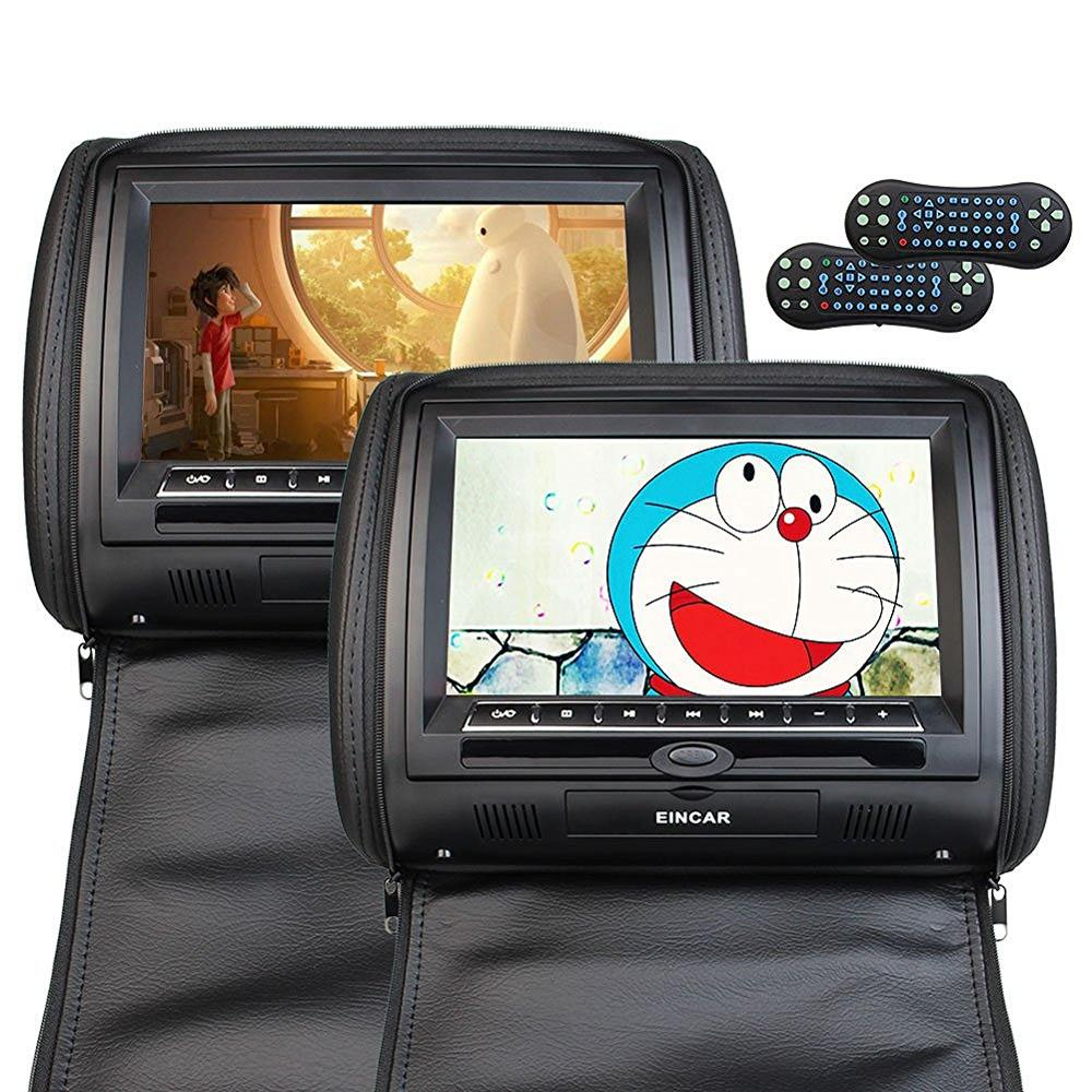 Two 2 pieces Car Headrest DVD Player pillow Universal Digital Screen zipper Car Monitor USB FM CD SD TV Game IR Remote conttol 2pcs lot digital tft screen zipper car pillow headrest cd dvd player monitor usb fm 32 bit game disc remote with 2xir headsets