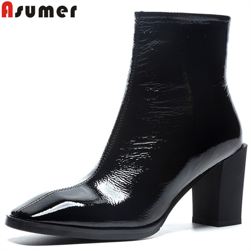 ASUMER black fashion ankle boots for women square toe thick high heels genuine leather boots autumn winter boots lady prom sho цена