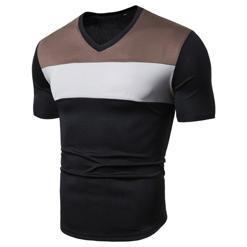 MarKyi 2019 Summer New Cheap T-shirt Mens Fitness V-neck Mans Short Sleeve Tees Tops Breathable