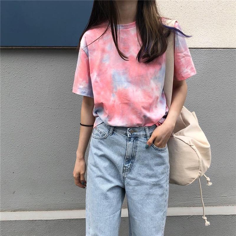 Korean Harajuku Women T Shirt 2019 Summer New O Neck Short Sleeve Loose Tee Shirt Femme Casual Streetwear in T Shirts from Women 39 s Clothing
