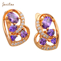 New 2017 Stunning Brand designer purple zircon gold plated Amethyst earrings cute fashion jewelry for women E461