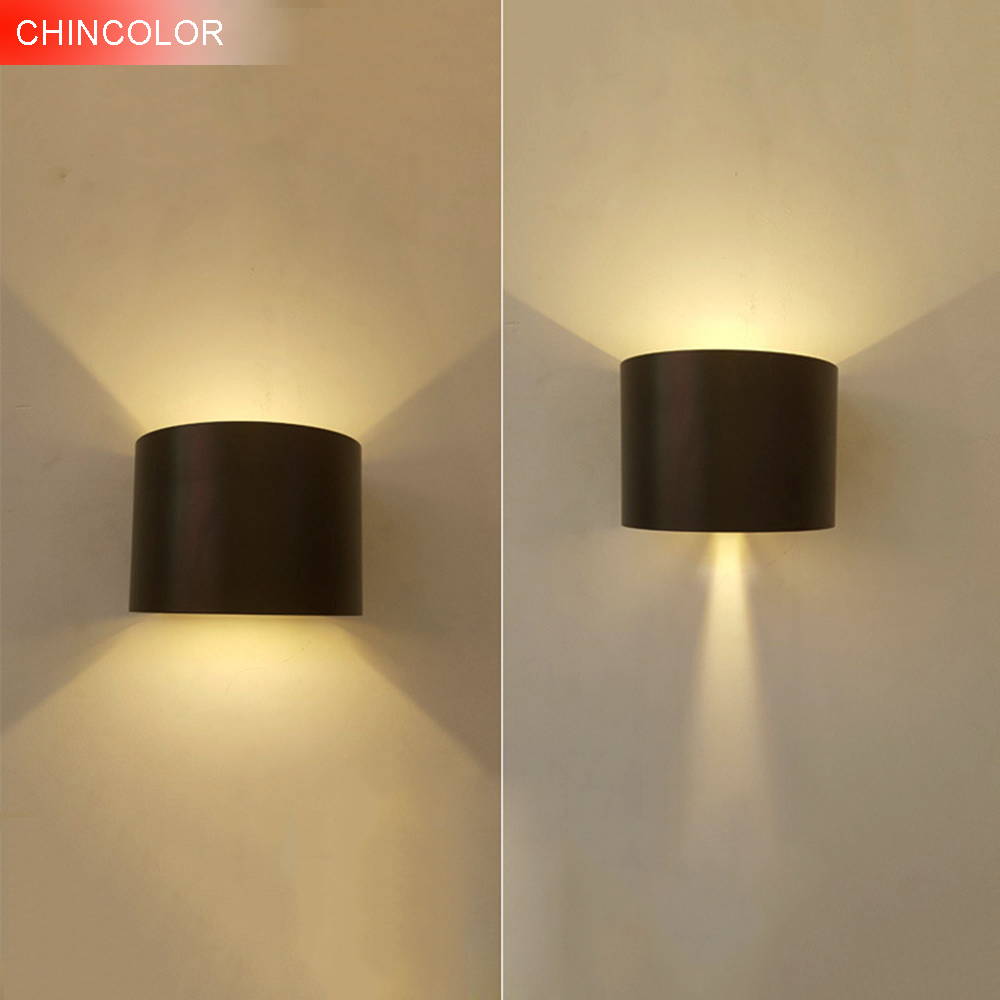 CHINCOLOR IP65 Waterproof Dimmable Wall Lamp 6W COB Aluminum Up and Down Adjustable Lighting For Outdoor Porch Garden Lights DA