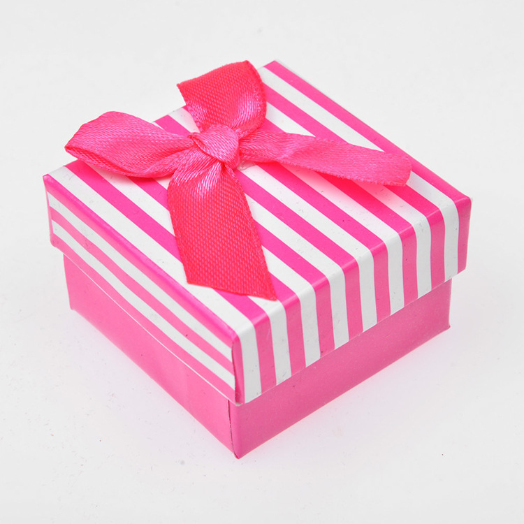 DoreenBeads 5x5cm Ring Box Necklace Jewelry Box Gift Box Wholesale Jewelry Packaging Bowknot Stripe 1 Piece