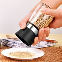 2pcs Creative Kitchen Accessories Stainless Steel Glass Manual Pepper Salt Spice Mill Grinder Pepper Grinder Spice Container