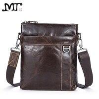 MJ Men's Shoulder Bag Genuine Leather Messenger Bag Real Leather Male Bags Solid Crossbody Handbag for Men High Capacity