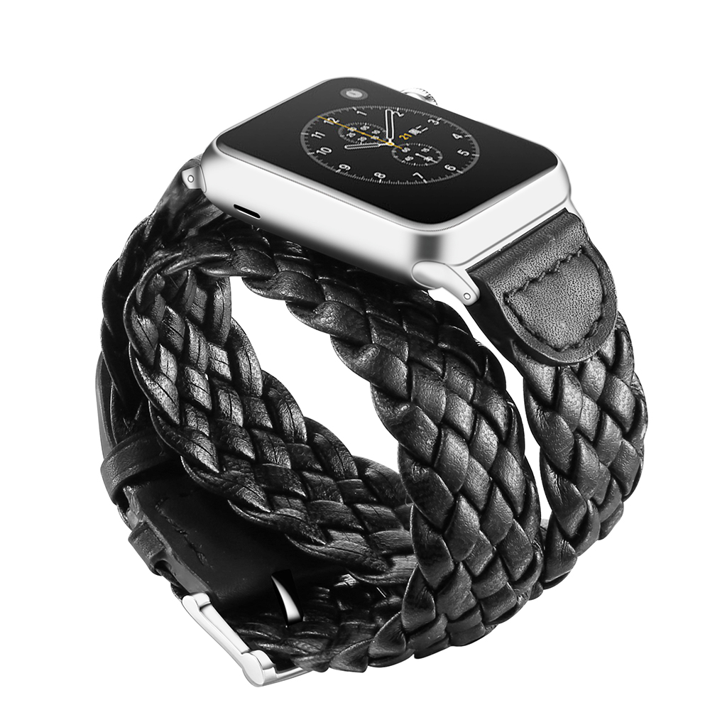 Luxury Handmade Weave  Loop Bracelet Belt Band for Apple Watch 1 2 3 38mm 42mm Band Genuine Leather for Iwatch Strap Watchband genuine leather loop band for apple watch band 42mm 38mm strap bracelet for iwatch series 1 2 3 adjustable magnetic closure belt