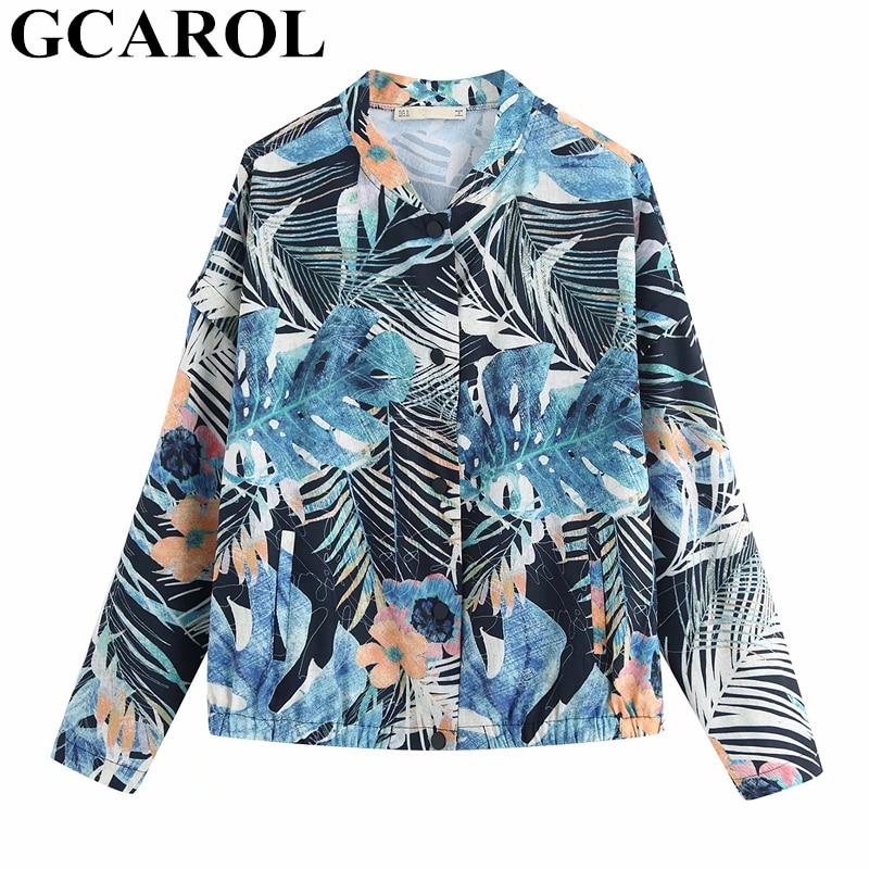 Kompetent Gcarol Euro Stil Frauen Blatt Floral Sun Block Mantel Elastische Taste Dünne Jacke Sommer Retro Prantine Mantel Übergroßen Bomber Jacke Blazer