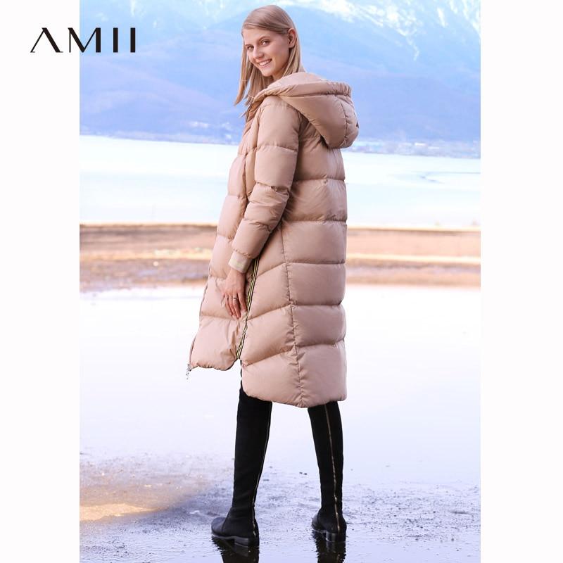 Amii Women 2018 Winter Warm Thick 90 White Duck Down Coat Hoodies Female Fashion Light Jacket