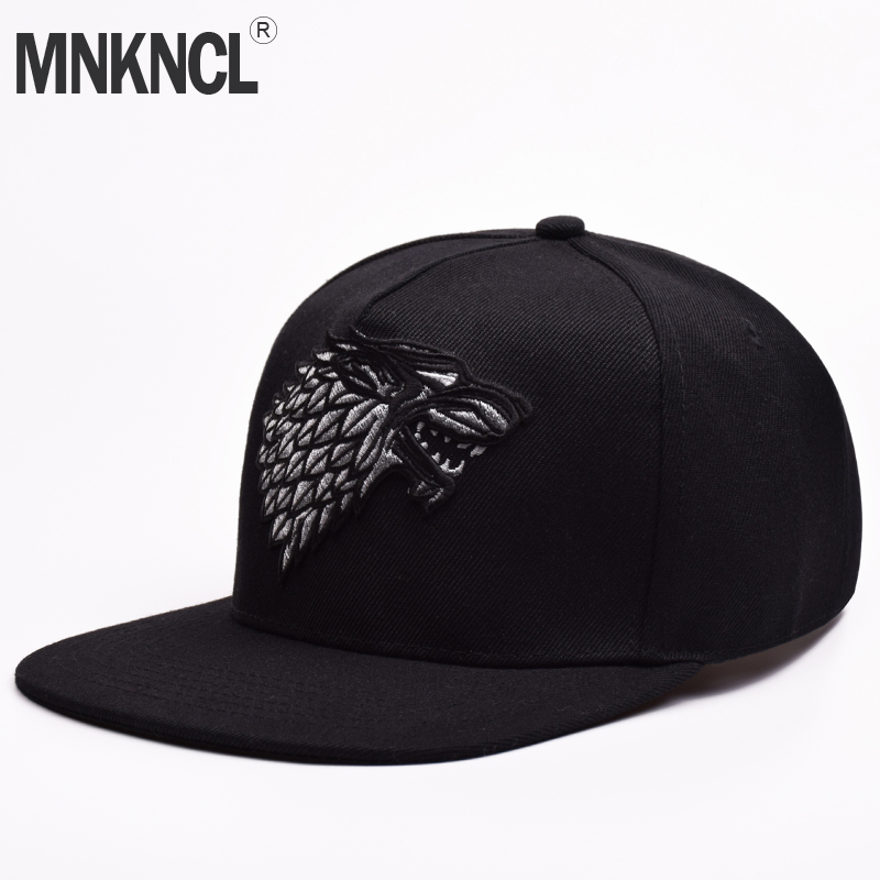 Wolf Hat Snapback Baseball Caps A Song Of Lce And Fire Winter Is Coming Hat Game Of Thrones House Stark Winterfell Embroid Hats brand bonnet beanies knitted winter hat caps skullies winter hats for women men beanie warm baggy cap wool gorros touca hat 2017
