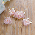 One Set handmade hair comb+hair sticks floral crystal beads hairpins pearl hair ornaments wedding accessories Gifts  nanbei