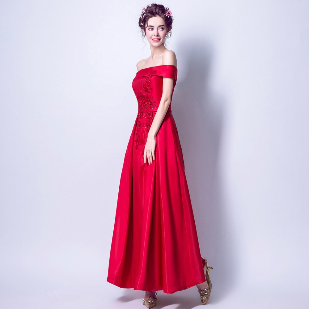 CEEWHY Boat Neck Red Formal Dress Women Elegant Prom Party Gown Embroidered  Evening Dresses Beaded Wedding Party Dresses Abiye-in Evening Dresses from  ... 02819db99ce0