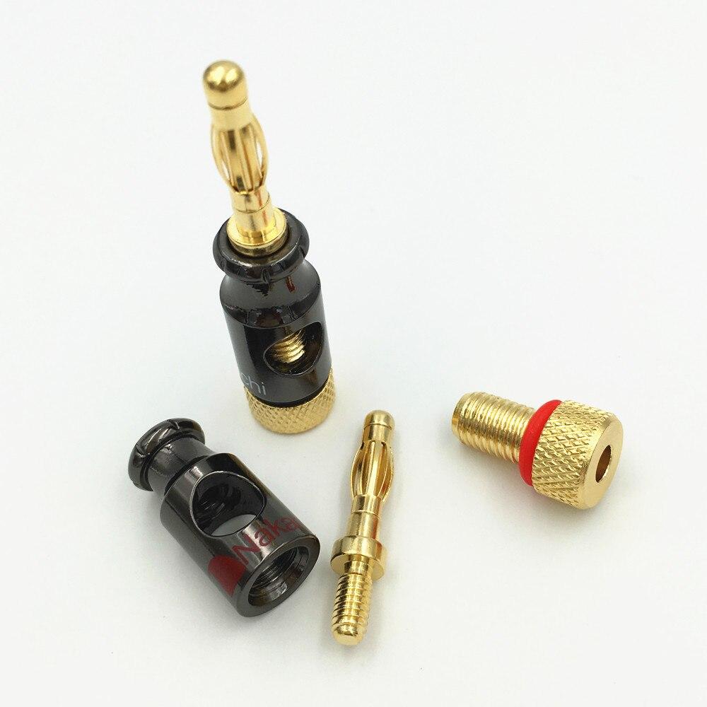 Image 5 - 8 pces nakamichi 4mm banana plug tipo espiral 24 k parafuso de ouro estéreo alto falante adaptador terminal de cobre de áudio conector eletrônicoconnector pcbterminal converterconnector for coaxial cable -