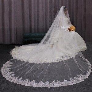 Image 2 - Velo de novia de 2 capas de largo 3 M de alta calidad, 3 metros, 2T, cubierta de encaje de lentejuelas, cara blanca, velo de novia, color marfil, accesorios de novia