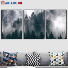 AFFLATUS Fog Forest Nordic Posters And Prints Wall Art Print Canvas Painting Natural Pictures For Living Room Decor
