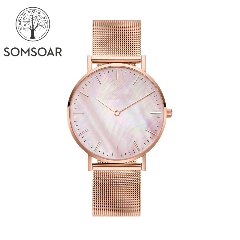 Somsoar Jewelry Pink Seashell Women Watches With Stainless Steel Mesh Bracelet Match Mesh Charm Bracelet & Bangle
