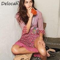 Delocah модельер Для женщин Лето праздничное платье Sexy v образным вырезом шифон шелк Вязание печатных пояса Повседневное отпуск Платья для веч