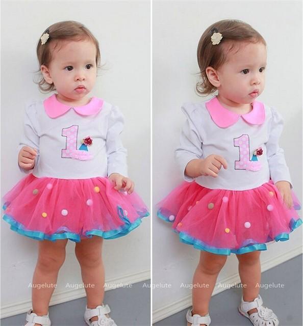 2016 Nueva primavera otoño niñas bebés vestidos de princesa ropa mamelucos infantiles ropa de encaje de color rosa pastel vestido roupas