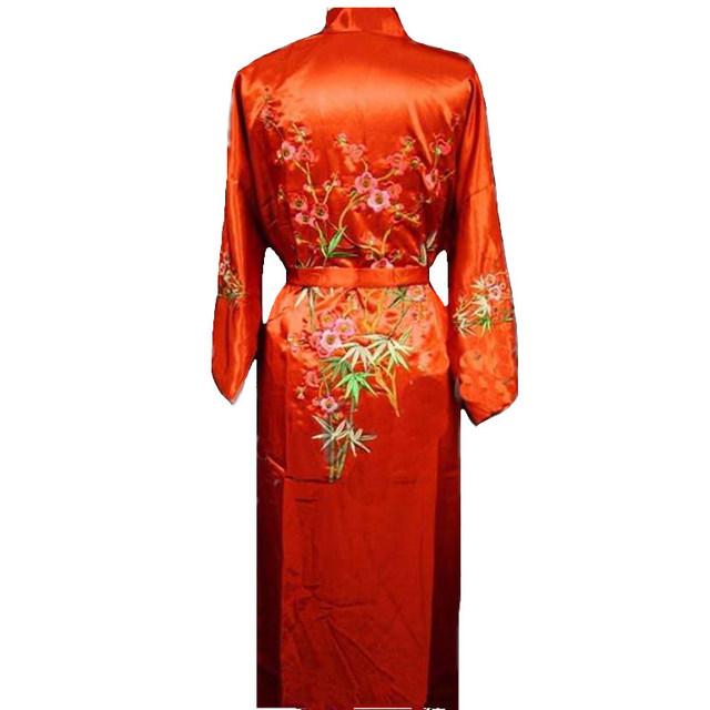 Red de las nuevas mujeres Chinas Albornoz Bata Venta Caliente Del Otoño Del Resorte bordado ropa de Dormir Del Kimono de Flores Tamaño Sml XL XXL XXXL ZHS01B