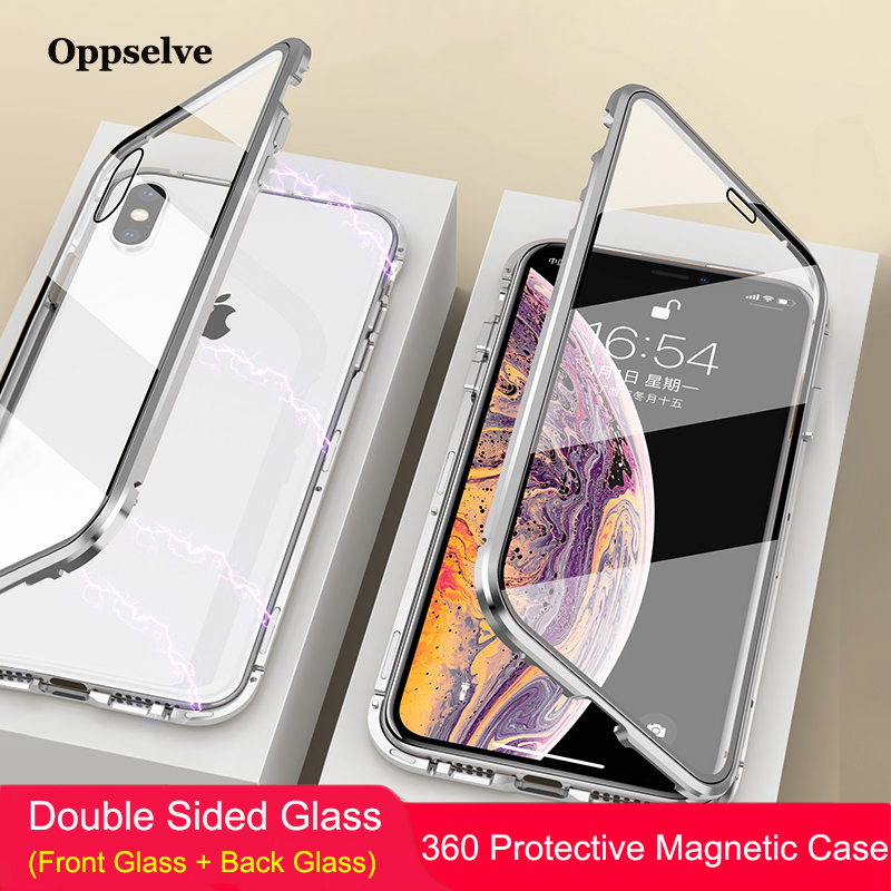 Oppselve Magnetic Phone Case For iPhone XR XS MAX X 8 7 6 6S Plus Double Sided Tempered Glass Metal Magnet Cover Coque Capinhas iPhone XR
