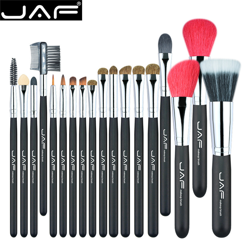 JAF 18 Pcs Professional Make Up Brush Set Natural Super Soft Red Goat Hair & Pony Horse Hair Studio Beauty Artist Makeup Brushes ...