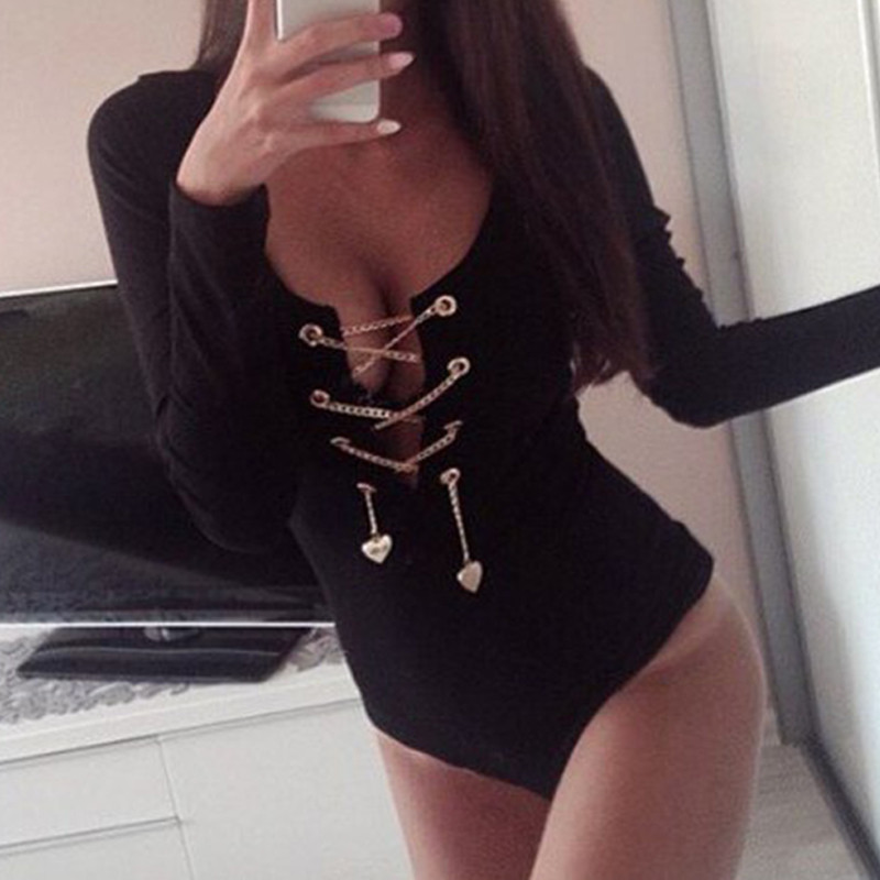 a7529240b7 2018 NEW Sexy Women s Bodysuits Long Sleeve Tops Deep V-neck Lace-Up Bodycon