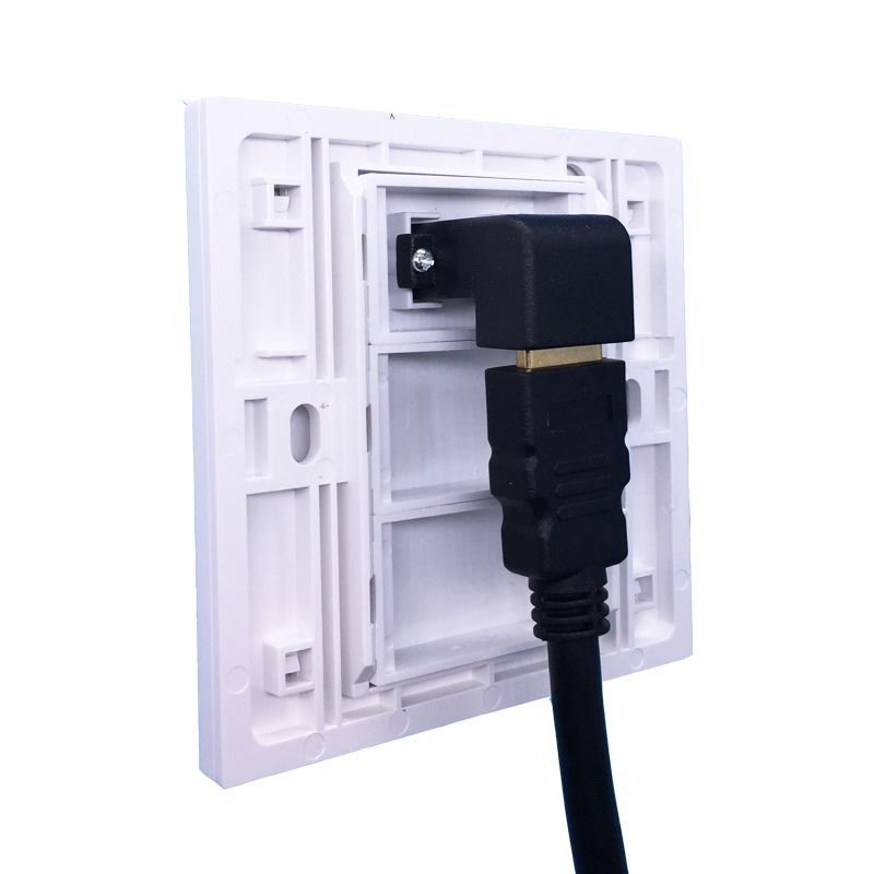 White Color Elbow HDMI1.4 Wall Outlet Panel Faceplate L Shape HDMI Plug For Projector DVD PS Wii Xbox