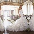 2016 Новый Сексуальный Милая Кружева Русалка Свадебные Платья С Открытой Спиной Органзы Плюс Размер Свадебные Платья Халат Де Mariage M70