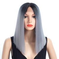 Aigemei Прямо Синтетические волосы на кружеве Искусственные парики для Для женщин термостойкие Прическа 16 дюймов 172 г