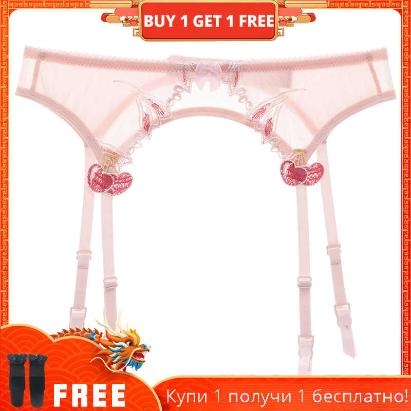 shaonvmeiwu Sexy transparent gauze ultra thin see-through garter belt lady's taste garter socks embroidery pink thin