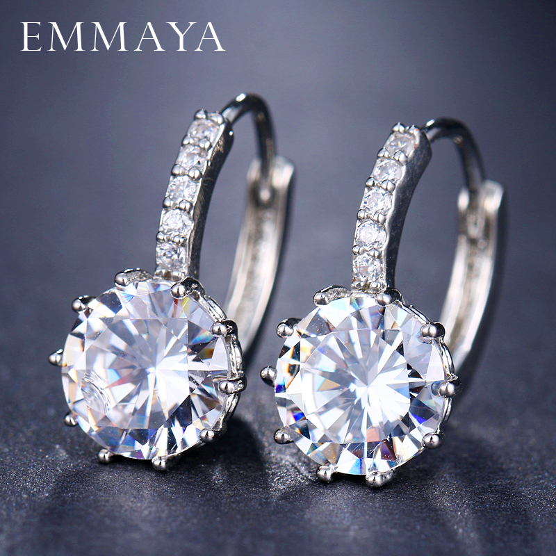 Женские серьги-пусеты EMMAYA, модные серьги-пусеты с фианитами AAA, 10 видов цветов по оптовой цене